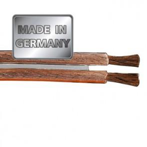 """כבל לרמקולים איכותי מנחושת טהורה בעובי 2.5 מ""""מ בצבע שקוף מבית HAMA גרמניה MADE IN GERMANY"""
