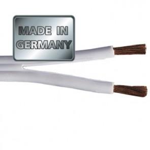 """כבל לרמקולים איכותי מנחושת טהורה בעובי 0.75 מ""""מ בצבע לבן מבית HAMA גרמניה MADE IN GERMANY"""
