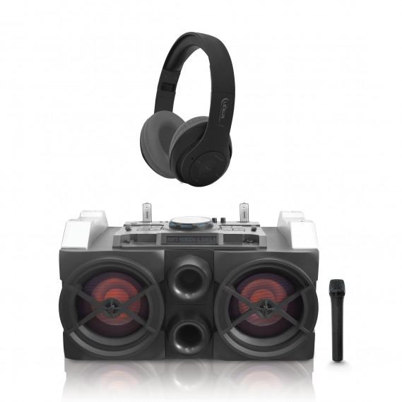 מערכת DJ סאונד אקסטרים ומיני מיקסר+אוזניות אלחוטיות עם מיקרופון מוגבר