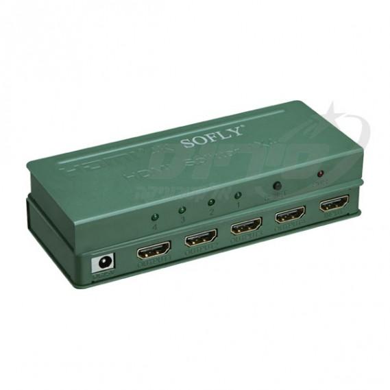 מפצל HDMI מקצועי 4 יציאות לכניסה אחת - סיריוס אלקטרוניקה - SOFLY