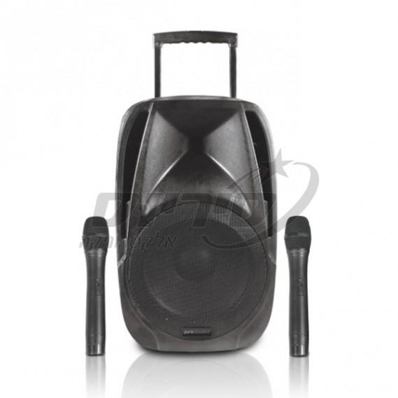 """רמקול בלוטוס נייד מוגבר """"15 עם שני מיקרופונים אלחוטים pure acoustics סיריוס אלקטרוניקה"""