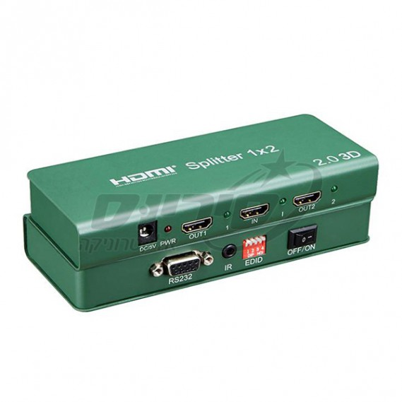 מפצל 2.0  HDMI 4K/60Hz - כניסה אחת ל 2 יציאות - SOFLY - סיריוס אלקטרוניקה