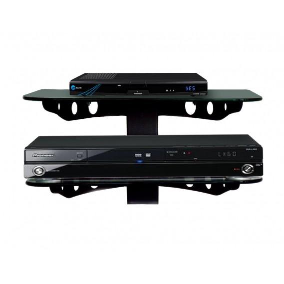 שני מדפי זכוכית שחורה מעוצבים במיוחד לממיר / DVD דגם SH-02 B