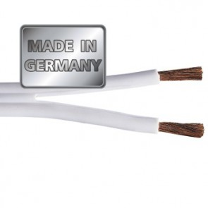 """כבל לרמקולים איכותי מנחושת טהורה בעובי 1.5 מ""""מ בצבע לבן מבית HAMA גרמניה MADE IN GERMANY"""