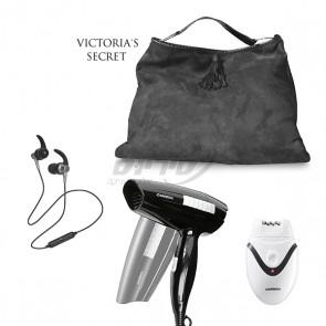 ערכת טיפוח לאישה הכוללת תיק Victoria Secret, פן מתקפל, מכשיר להסרת שיער ואוזניות אלחוטיות