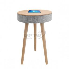 שולחן מעוצב עם רמקול בלוטוס ועמדת טעינה אלחוטית