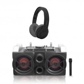 רמקול DJ עם מיקסר מובנה סאונד דינאמי ותאורת דיסקו+אוזניות בלוטוס Black November