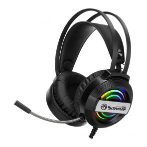 אוזניות סטריאו גיימינג למתקדמים תאורת RGB מבית MARVO SCORPION