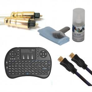 ערכה מושלמת לטלוויזיה - שלט חכם + כבל HDMI + כבל אופטי + ערכת  ניקוי