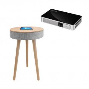 מקרן נייד איכותי Vivitek + רמקול שולחן מעוצב עם עמדת טעינה אלחוטית
