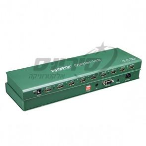 מפצל HDMI SPLITTER מוגבר ל- 8 יציאות 4K/60Hz + EDID - SOFLY