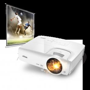 ערכת קולנוע ביתי הכוללת מקרן HDMI ומסך נגלל איכותי