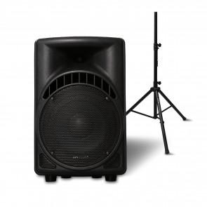 """רמקול אקטיבי מקצועי 8"""" משולב שלט רחוק ורדיו FM + סטנד מתנה"""